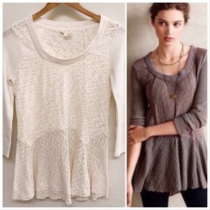 Anthro Meadow Rue 'Limay' Cream Skirted Sweater S